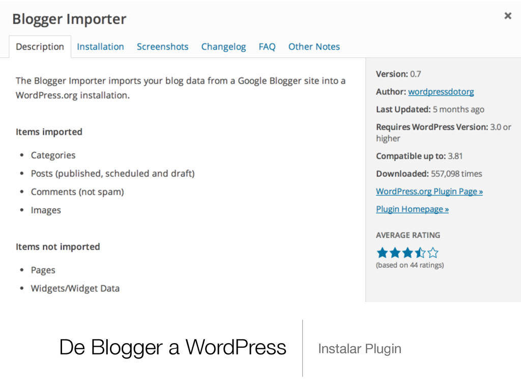 De Blogger a WordPress Instalar Plugin