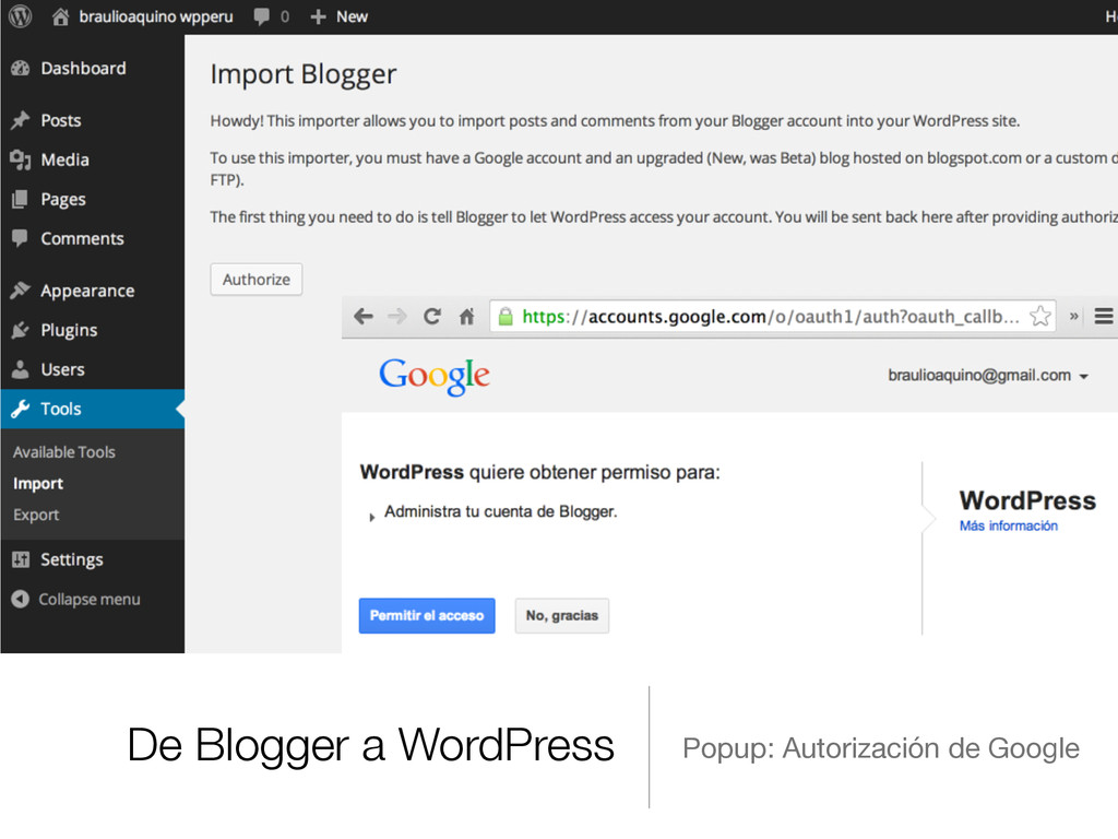De Blogger a WordPress Popup: Autorización de G...