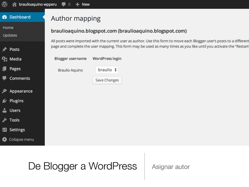 De Blogger a WordPress Asignar autor
