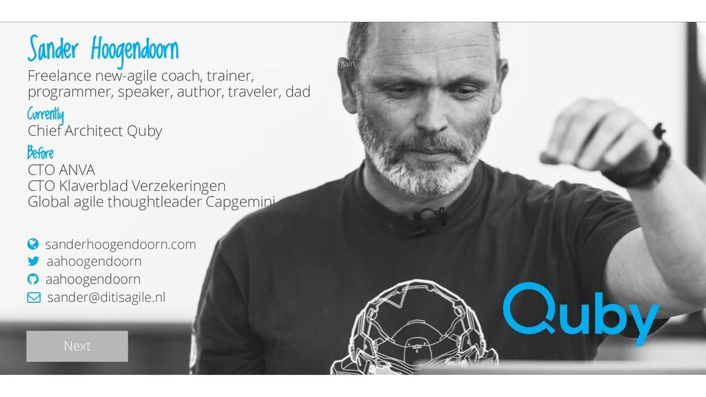 Sander Hoogendoorn Freelance new-agile coach, t...