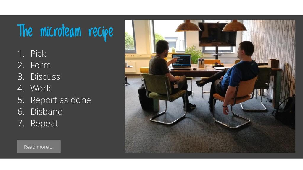 Read more … The microteam recipe 1. Pick 2. For...