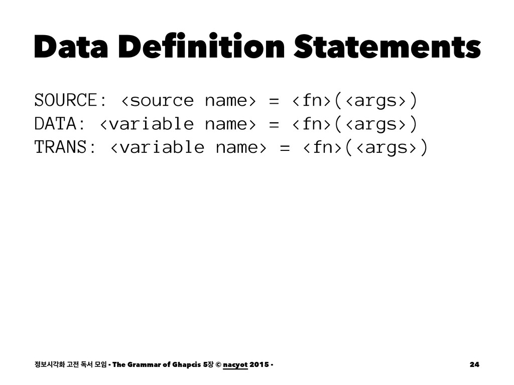 Data Definition Statements SOURCE: <source name...