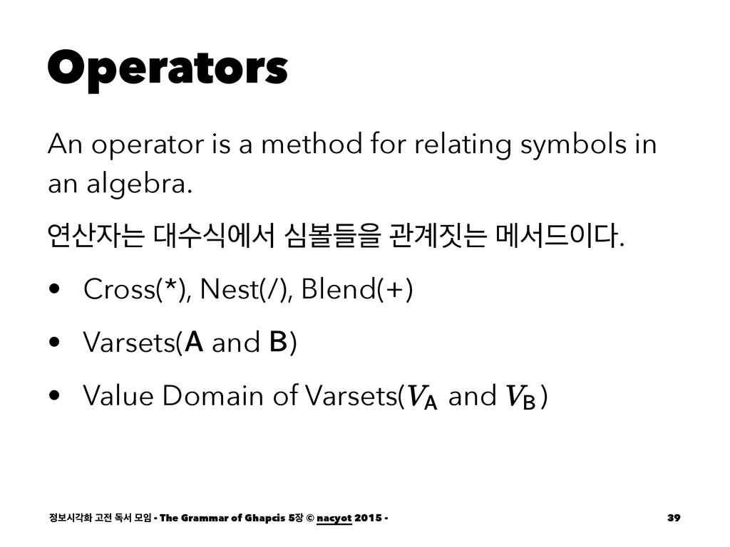 Operators An operator is a method for relating ...
