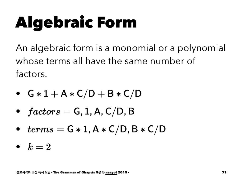 Algebraic Form An algebraic form is a monomial ...