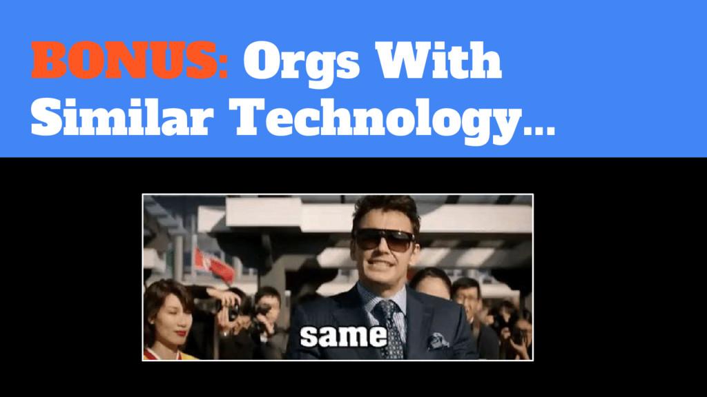 BONUS: Orgs With Similar Technology...