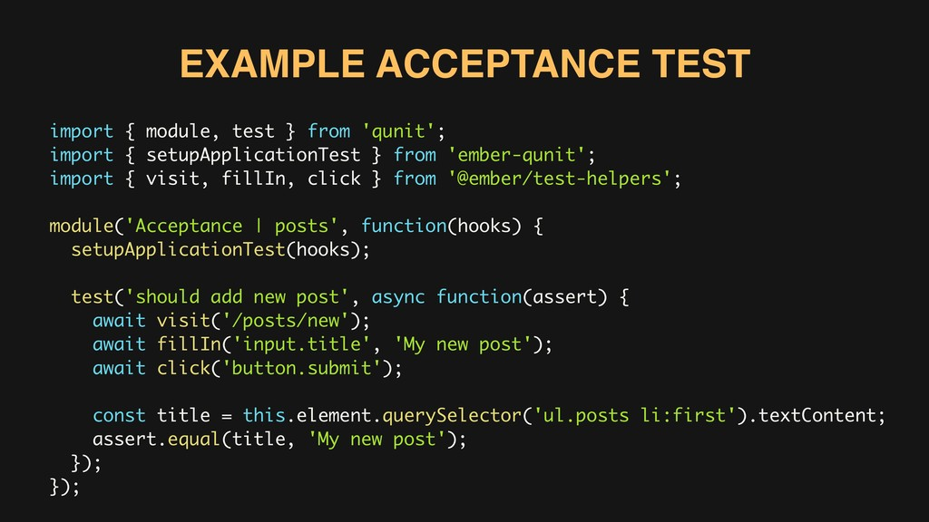 import { module, test } from 'qunit'; import { ...