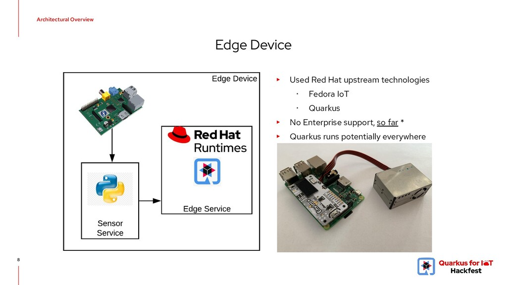 Architectural Overview 8 Edge Device ▸ Used Red...