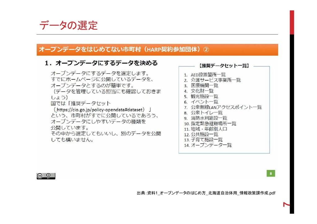 データの選定 7 出典:資料1_オープンデータのはじめ方_北海道自治体用_情報政策課作成.pdf