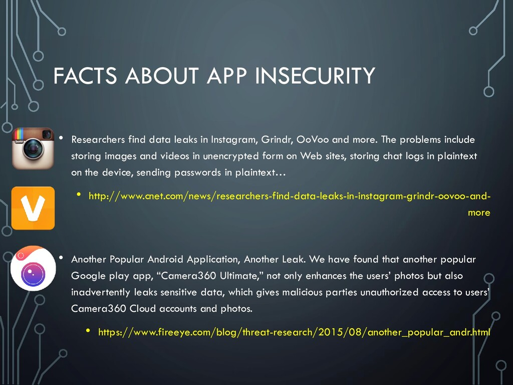 FACTS ABOUT APP INSECURITY • Researchers find d...