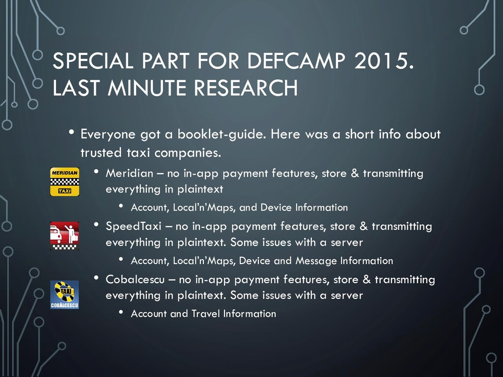 SPECIAL PART FOR DEFCAMP 2015. LAST MINUTE RESE...