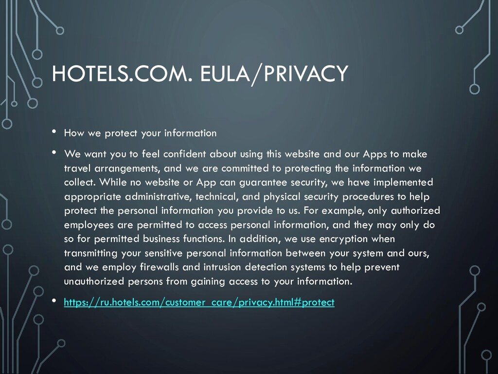 HOTELS.COM. EULA/PRIVACY • How we protect your ...