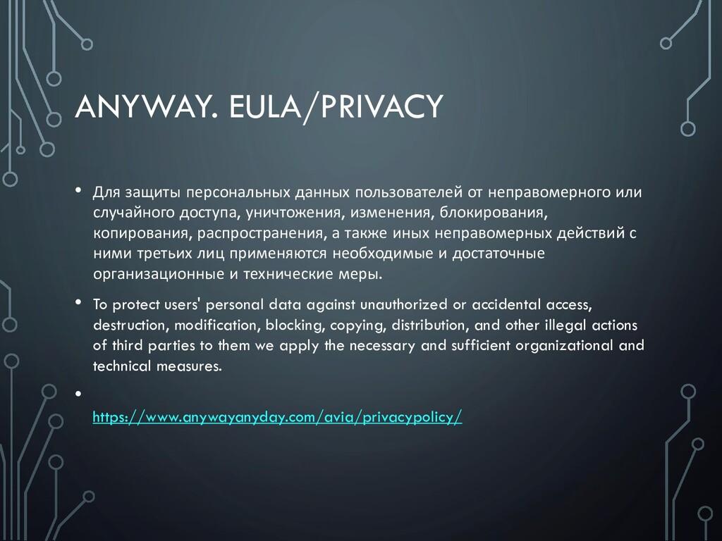 ANYWAY. EULA/PRIVACY • Для защиты персональных ...