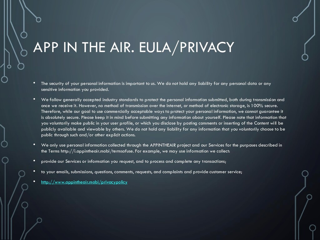 APP IN THE AIR. EULA/PRIVACY • The security of ...