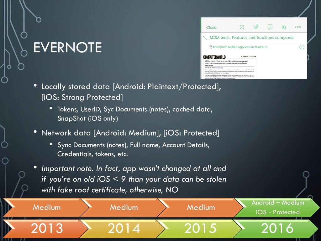 EVERNOTE • Locally stored data [Android: Plaint...