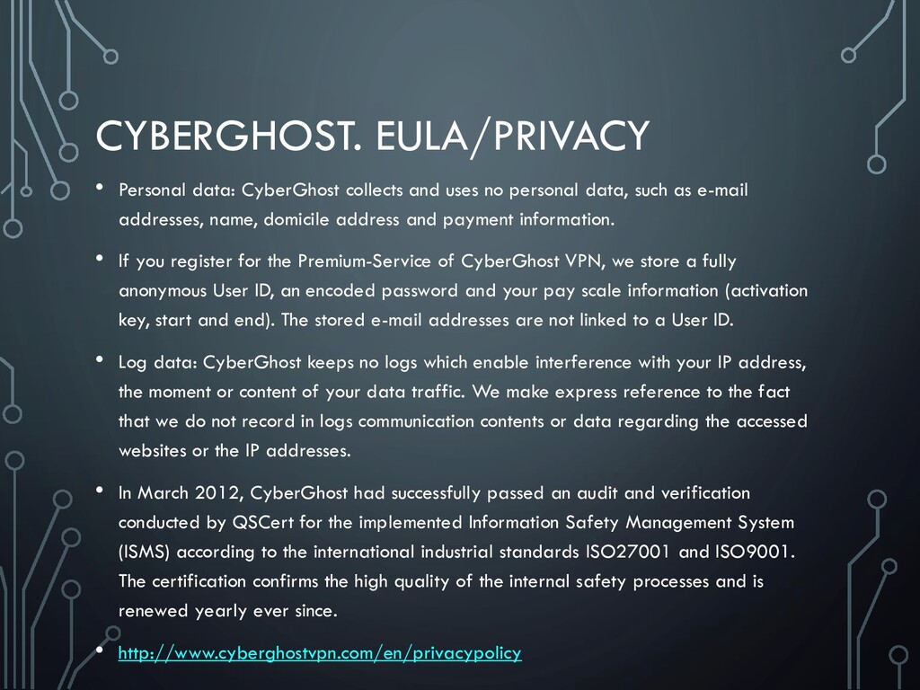 CYBERGHOST. EULA/PRIVACY • Personal data: Cyber...