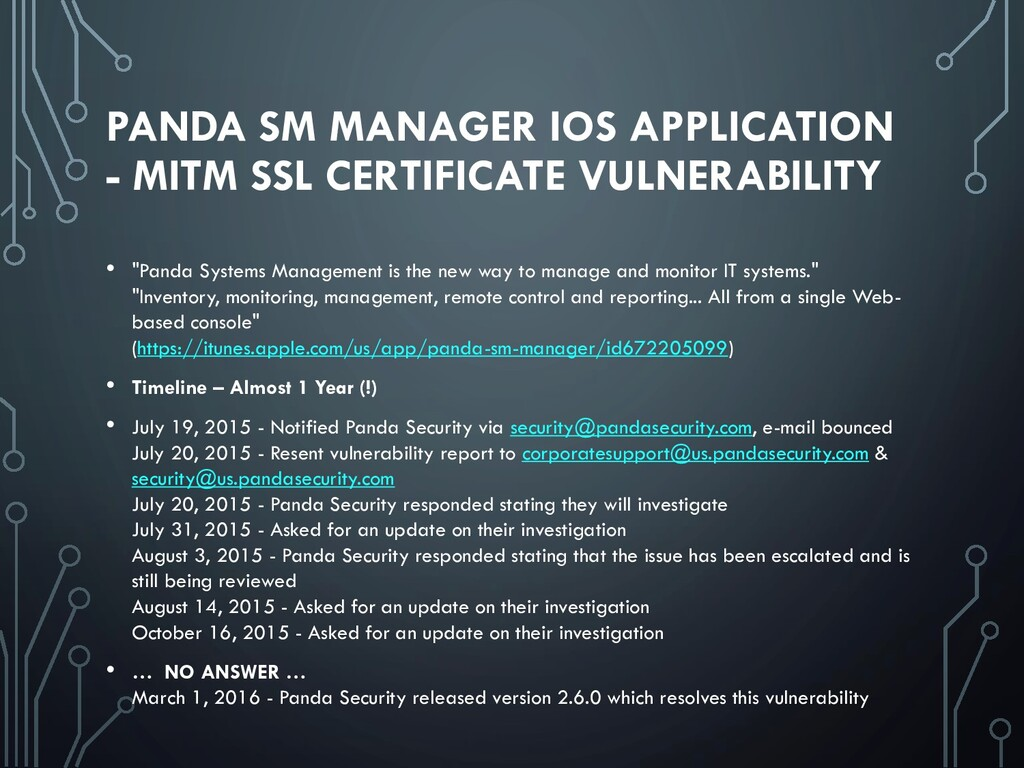 PANDA SM MANAGER IOS APPLICATION - MITM SSL CER...