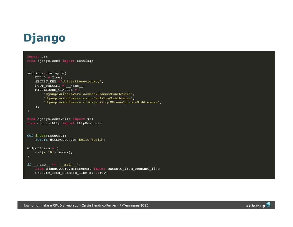 Django import sys from django.conf import setti...
