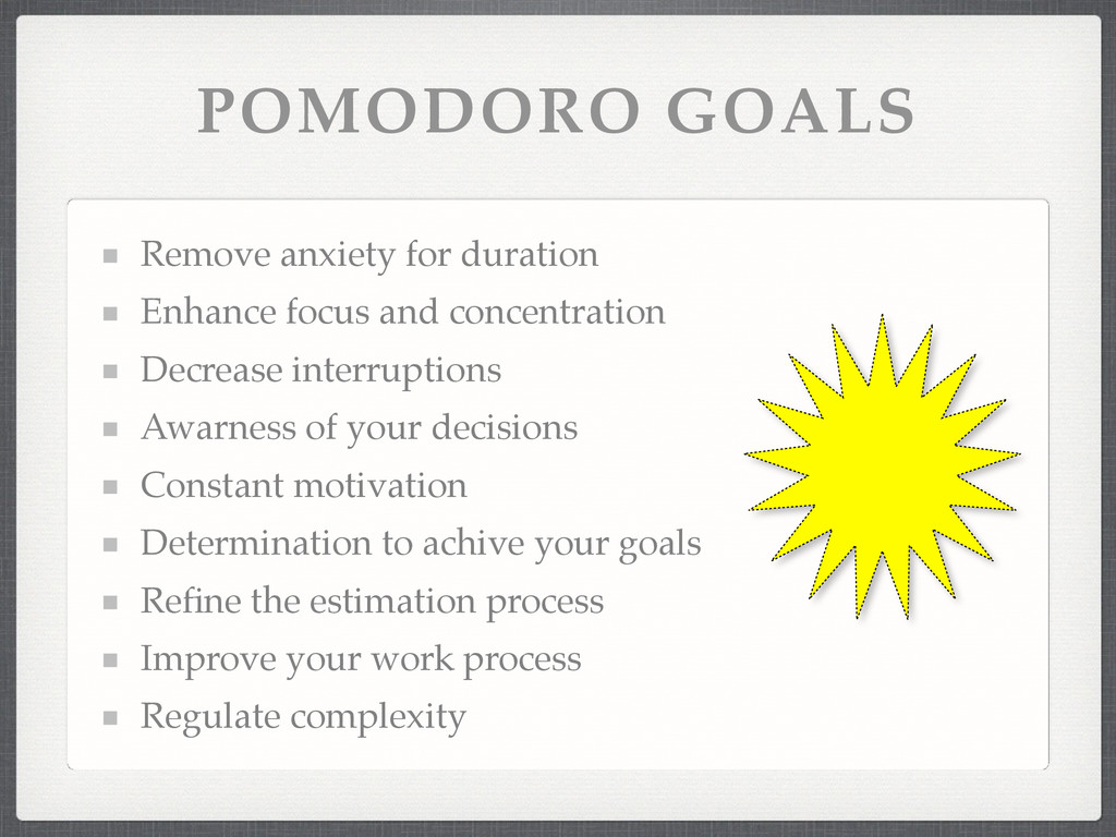 POMODORO GOALS Remove anxiety for duration! Enh...