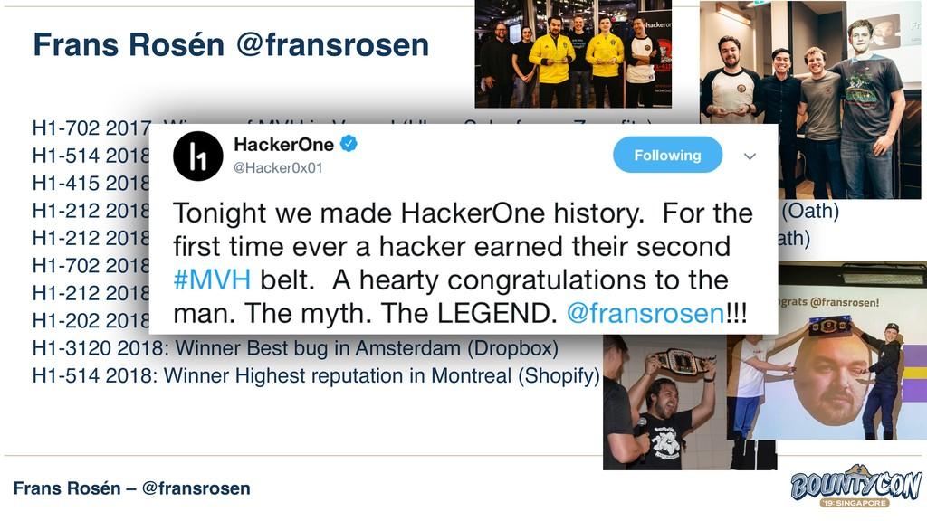 Frans Rosén – @fransrosen Frans Rosén @fransros...