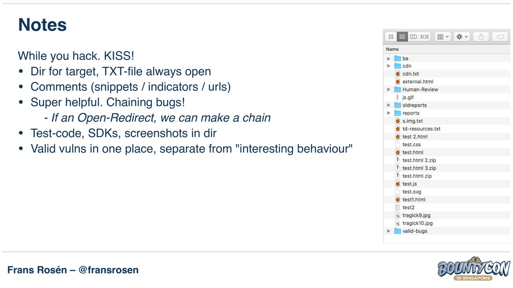 Frans Rosén – @fransrosen Notes While you hack....