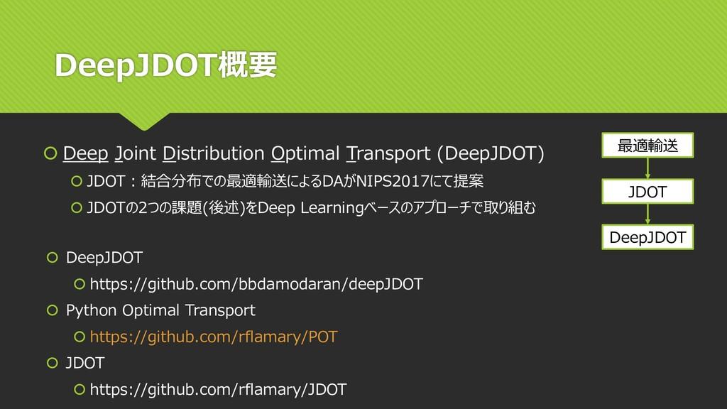 DeepJDOT概要  Deep Joint Distribution Optimal Tr...