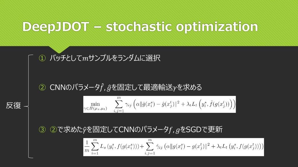 DeepJDOT – stochastic optimization ② CNNのパラメータ ...