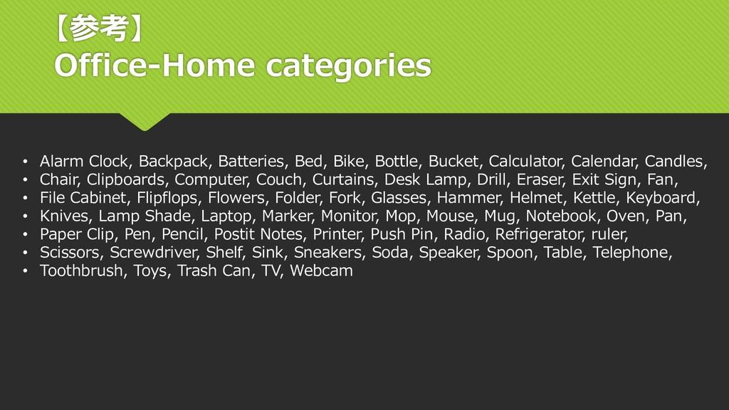 【参考】 Office-Home categories • Alarm Clock, Back...