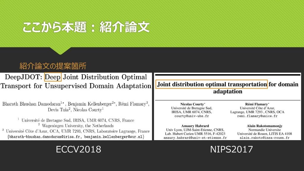 ここから本題:紹介論文 紹介論文の提案箇所 ECCV2018 NIPS2017