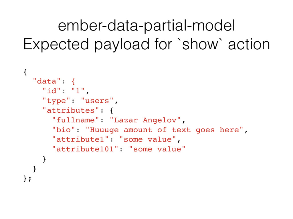 ember-data-partial-model Expected payload for `...
