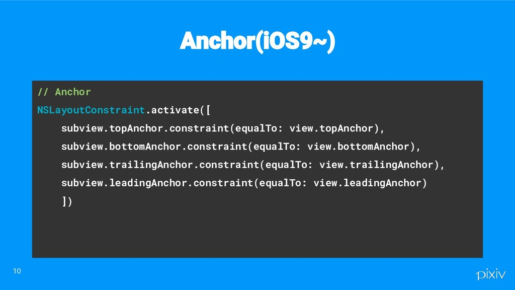// Anchor NSLayoutConstraint.activate([ subview...