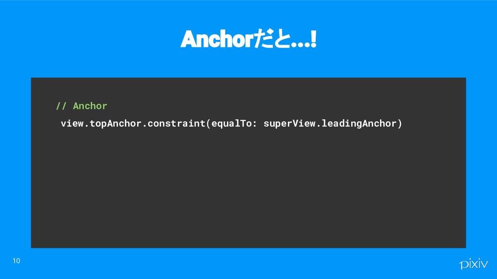 // Anchor view.topAnchor.constraint(equalTo: ...