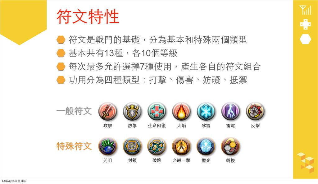 符⽂文是戰⾾鬥的基礎,分為基本和特殊兩個類型 基本共有13種,各10個等級 每次最多允許選擇7...