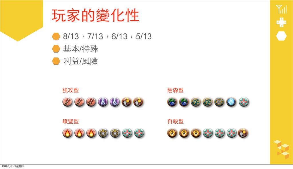 8/13,7/13,6/13,5/13 基本/特殊 利益/⾵風險 玩家的變化性 強攻型 鐵壁型...
