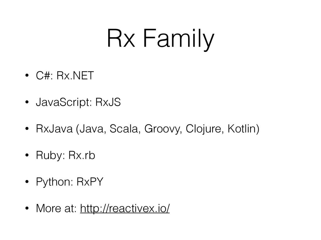 Rx Family • C#: Rx.NET • JavaScript: RxJS • RxJ...