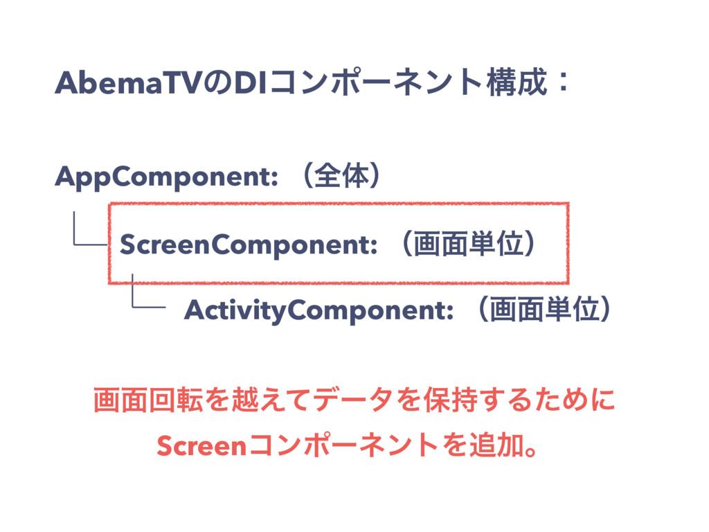 AbemaTVͷDIίϯϙʔωϯτߏɿ AppComponent: ʢશମʣ ScreenC...