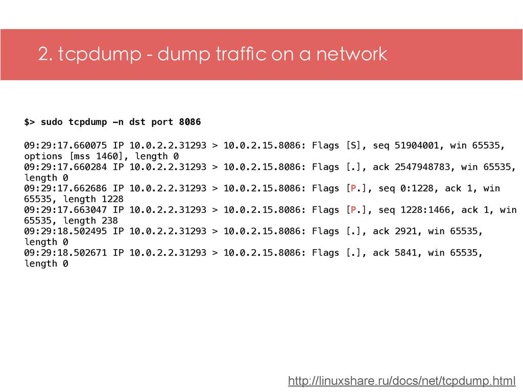 2. tcpdump - dump traffic on a network $> sudo t...