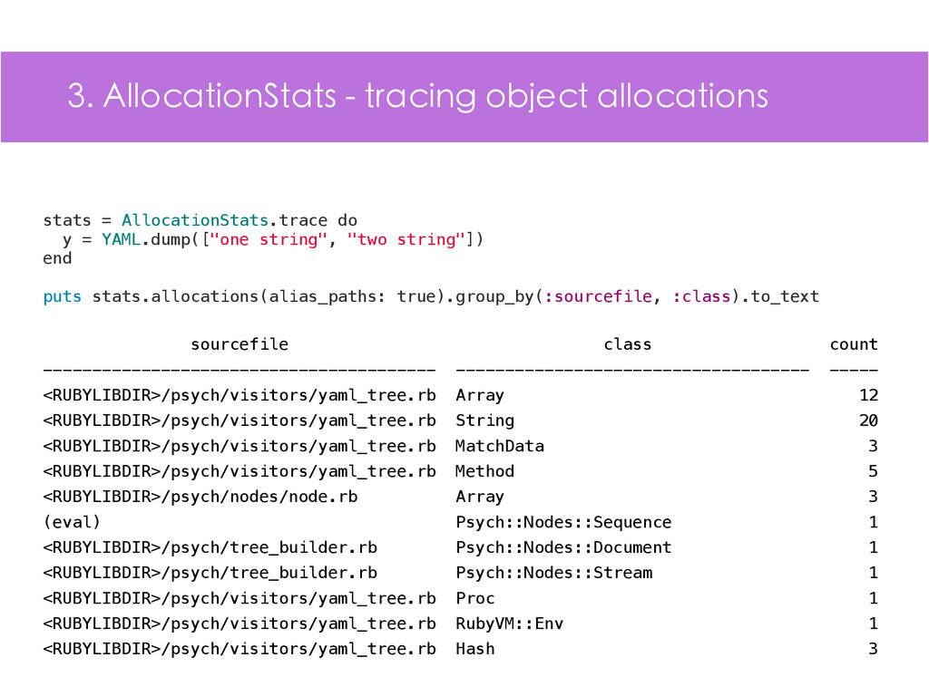 3. AllocationStats - tracing object allocations...