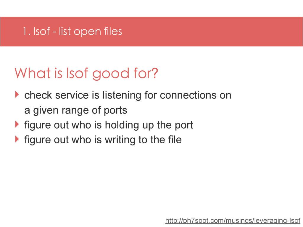 1. lsof - list open files http://ph7spot.com/mus...