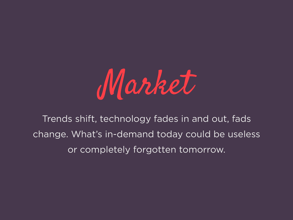 Market Trends shift, technology fades in and ou...