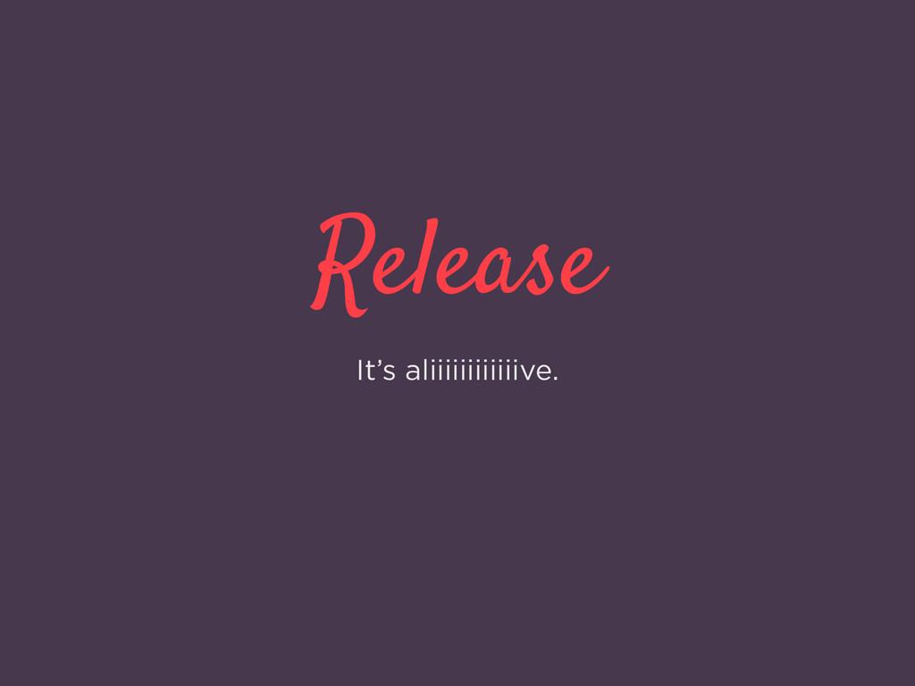 Release It's aliiiiiiiiiiiive.