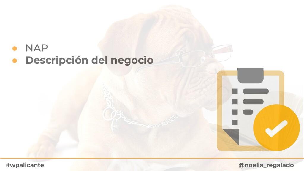 ● NAP ● Descripción del negocio @noelia_regalad...