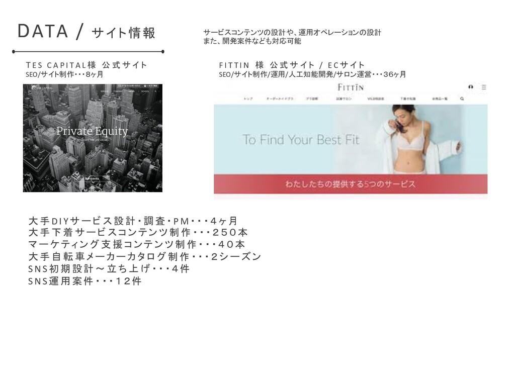 DATA / サイト情報 T E S C A P I T A L 様 公 式 サ イ ト SE...