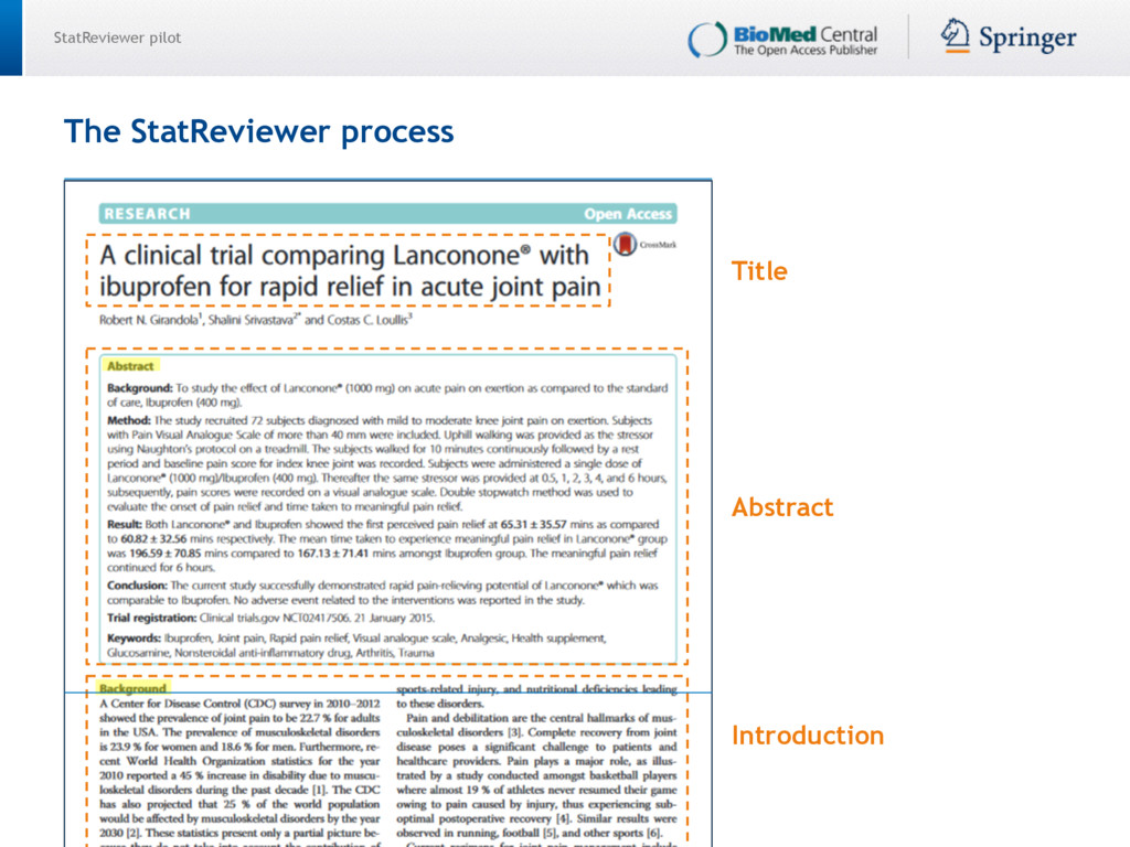 StatReviewer pilot Title Abstract Introduction ...