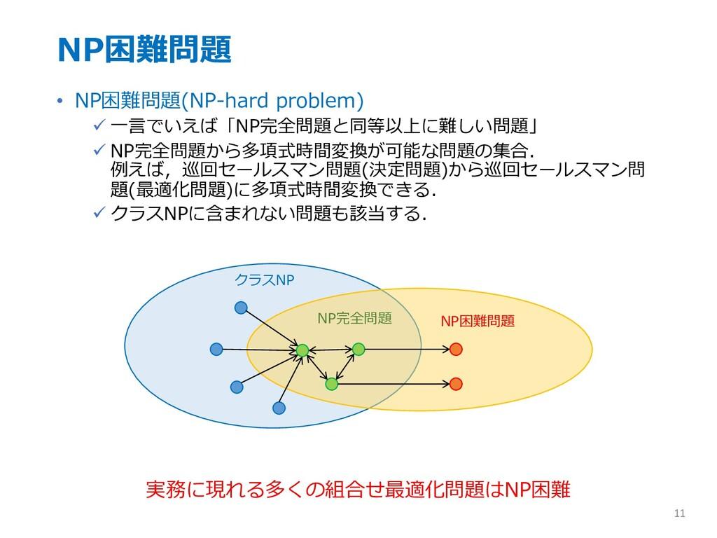 NP困難問題 • NP困難問題(NP-hard problem) ü ⼀⾔でいえば「NP完全問...