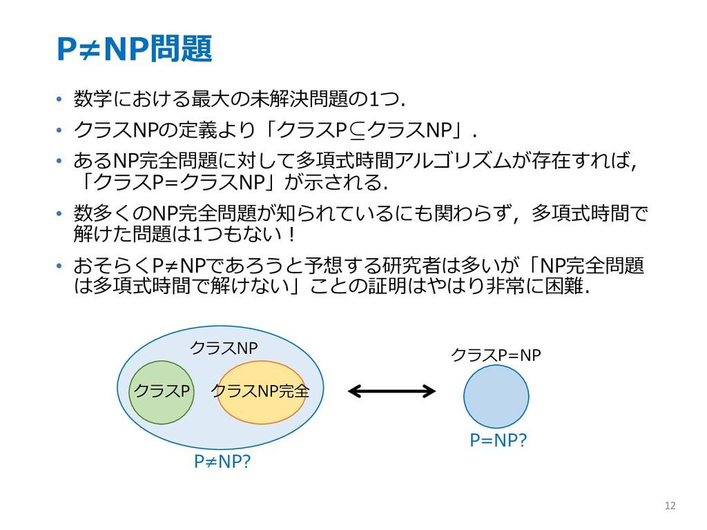P≠NP問題 • 数学における最⼤の未解決問題の1つ. • クラスNPの定義より「クラスP ク...