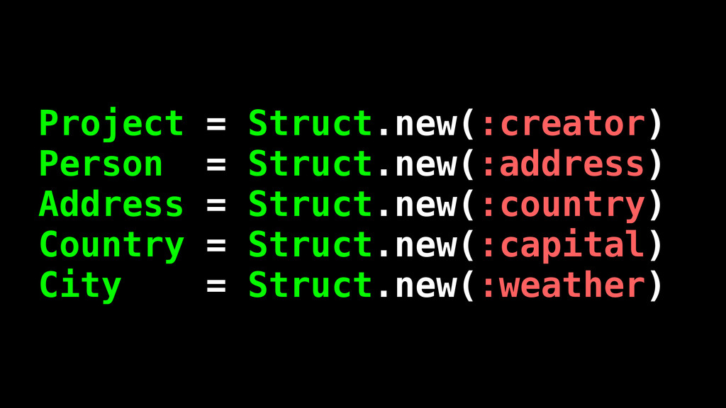 Project = Struct.new(:creator) Person = Struct....