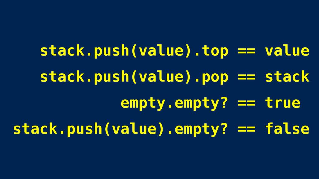stack.push(value).top == value stack.push(value...