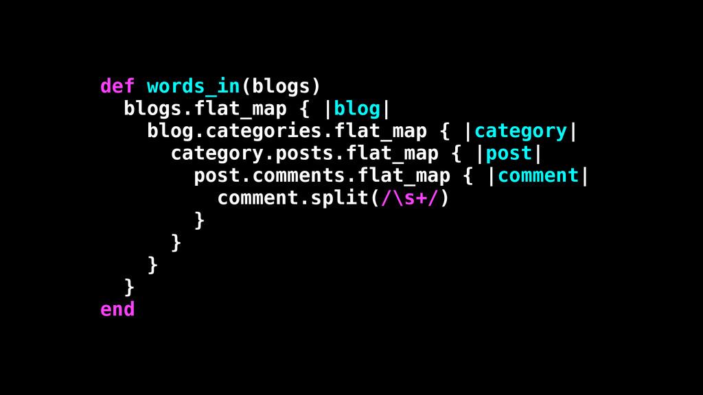 def words_in(blogs) blogs.flat_map { |blog| blo...