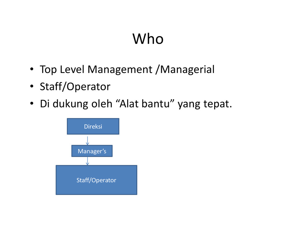 Who • Top Level Management /Managerial • Staff/...