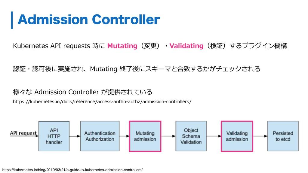 Kubernetes API requests 時に Mutating(変更)・Validat...